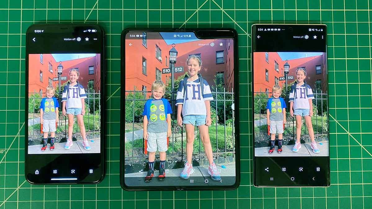 a photo of two children on the iPhone 11 Pro Max, the Fold, and the Samsung Galaxy Note10+