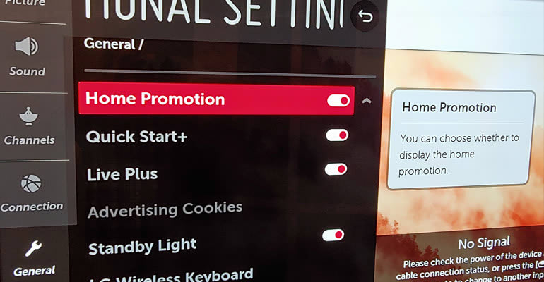 Photo of LG's menu where you can turn off ACR technology.