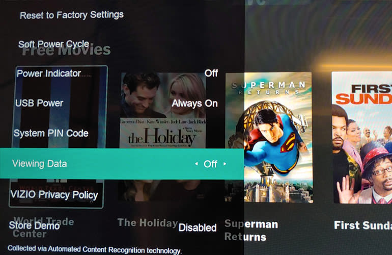 Photo of the Vizio SmartCast TV's Terms & Conditions screen.