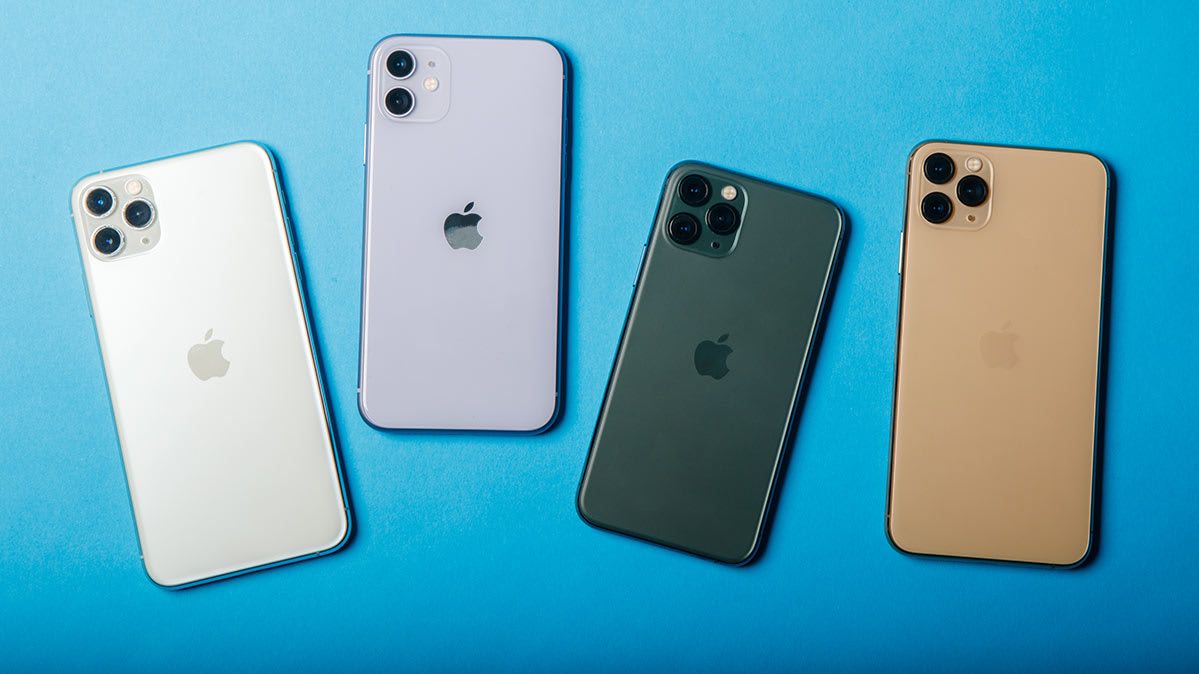 A collection of new iPhones.
