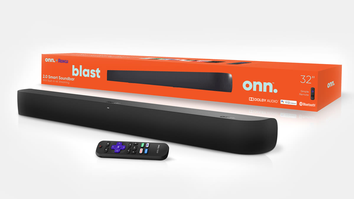 The Onn sound bar with a built-in Roku streaming player.