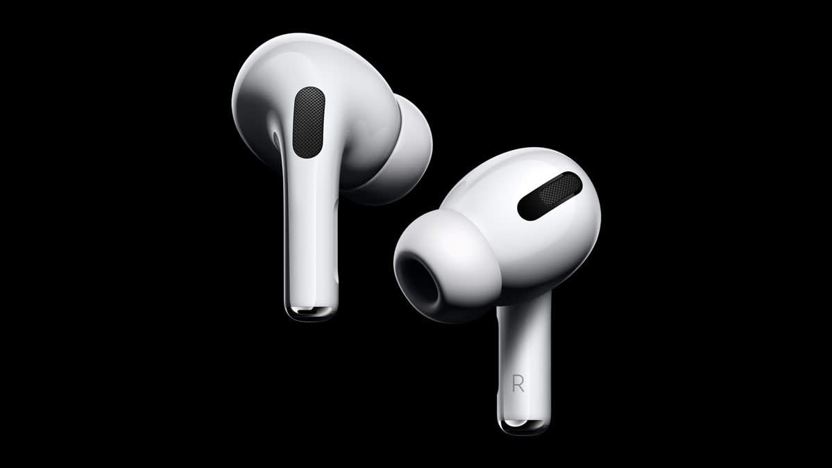 A pair of Apple AirPods Pro earphones
