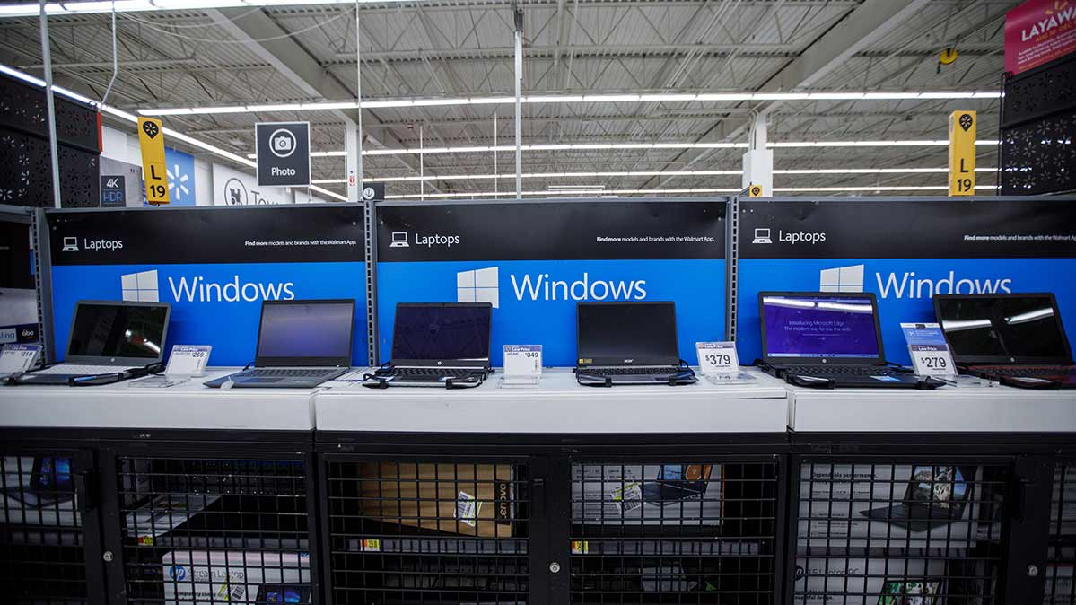 Walmart laptop display for a story on great Walmart Black Friday laptop deals.