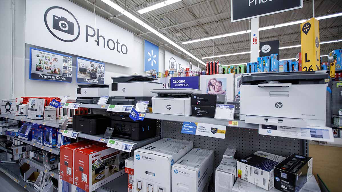 A Black Friday printer display at a retailer.