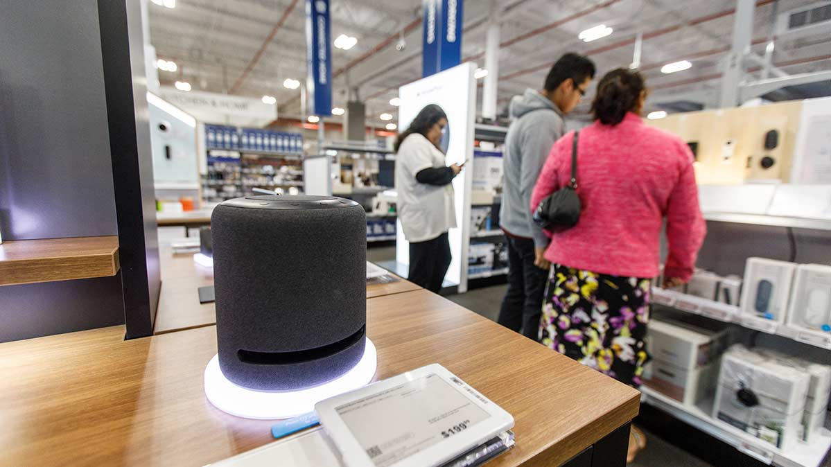 smart speakers on a sale in a store that has smart speaker black friday deals