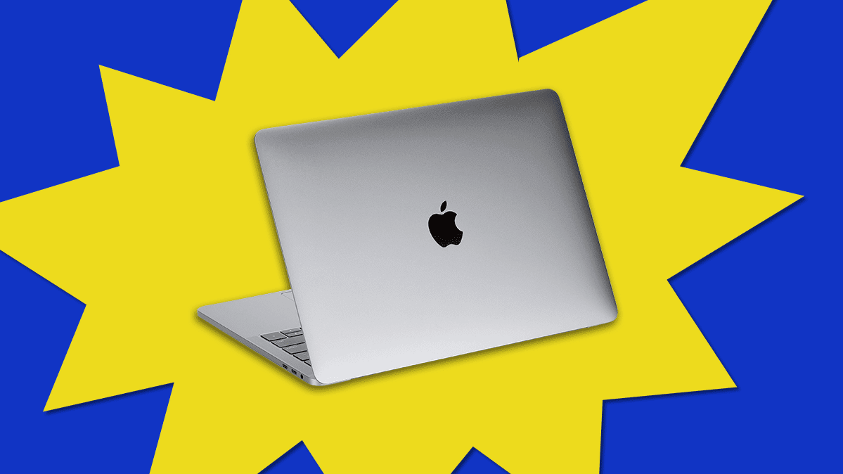 Image of a MacBook on a price-burst backdrop