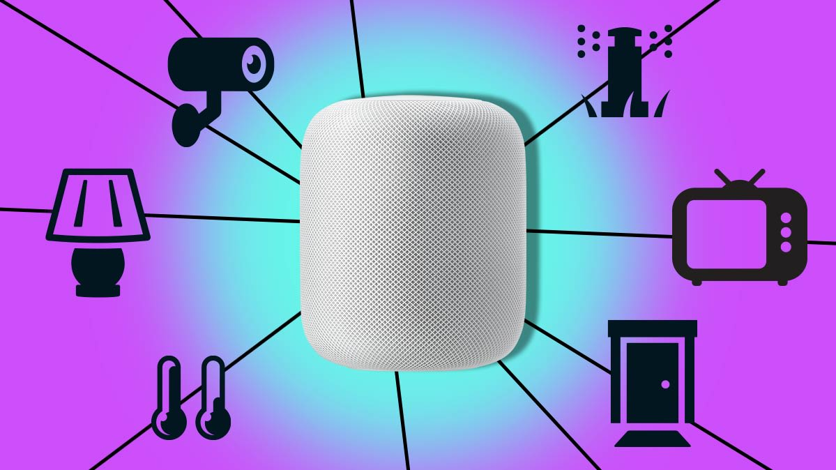 An Apple HomePod surrounded by Apple HomeKit compatible devices.