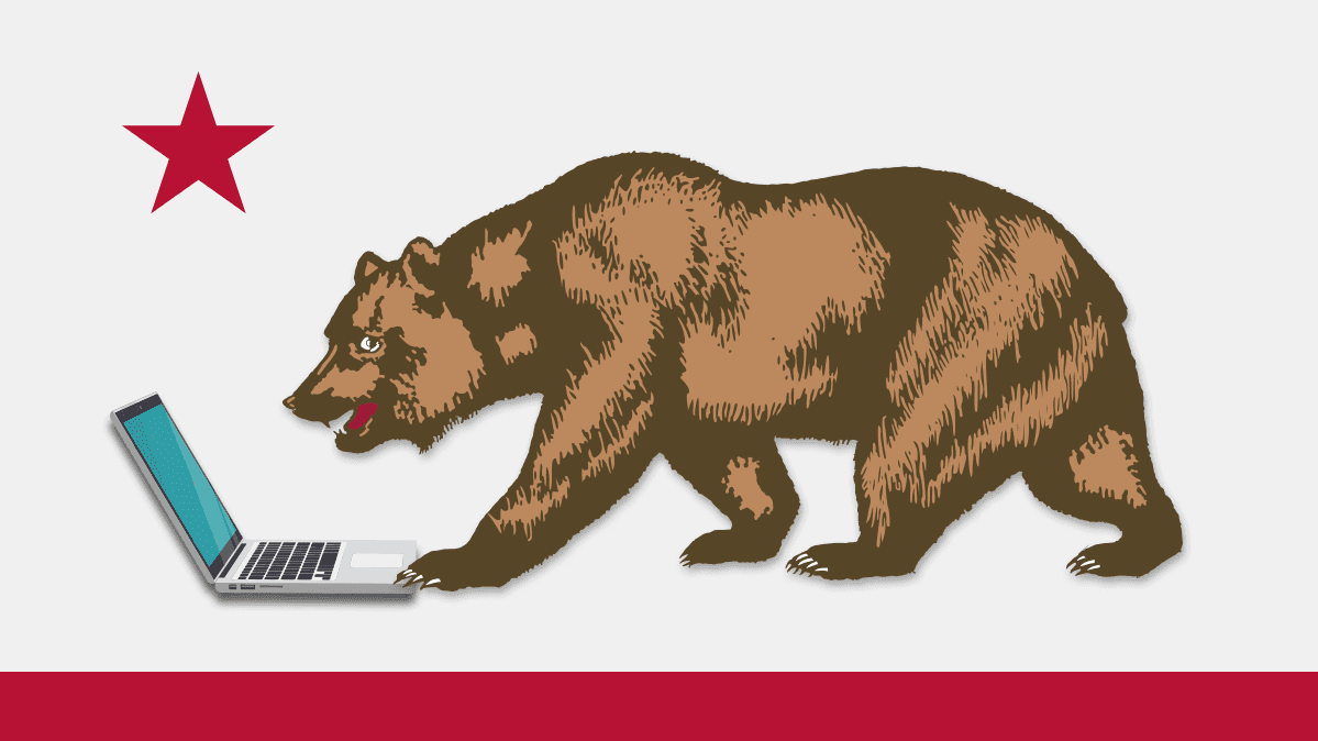 An illustration of the bear on the California state flag using a laptop to illustrate a new California privacy law.