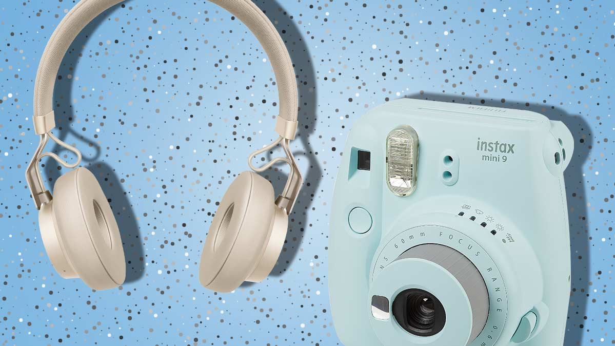 Holiday gift ideas, including headphones and an instant camera.