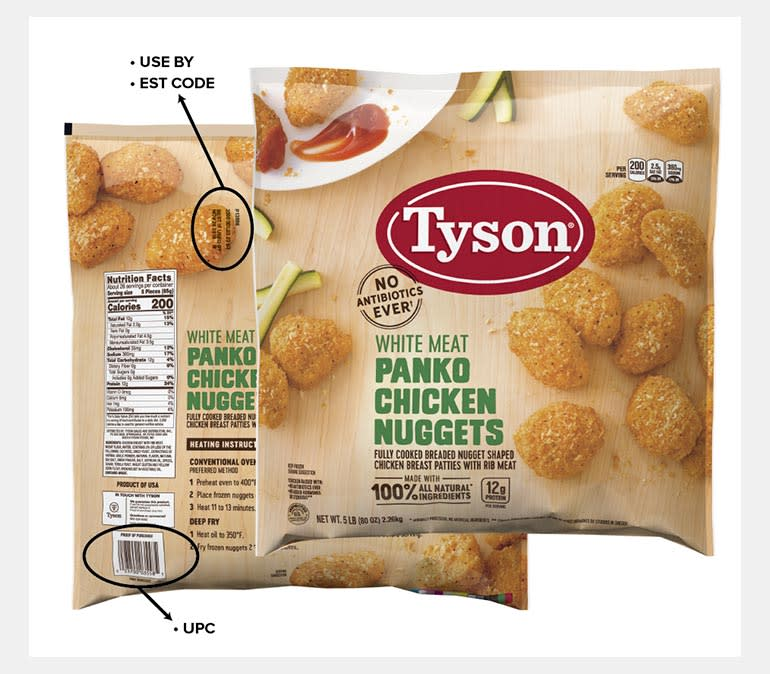 A bag of chicken nuggets that's part of the recent Tyson chicken nugget recall.