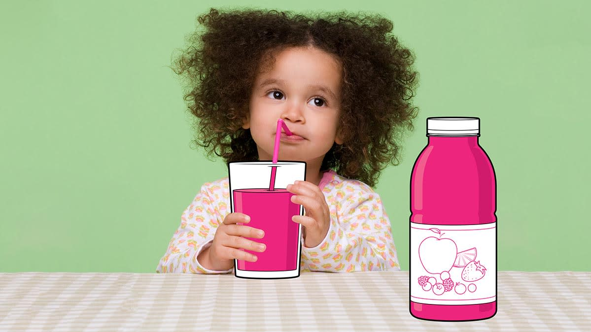 A photoillustration of a young girl drinking fruit juice