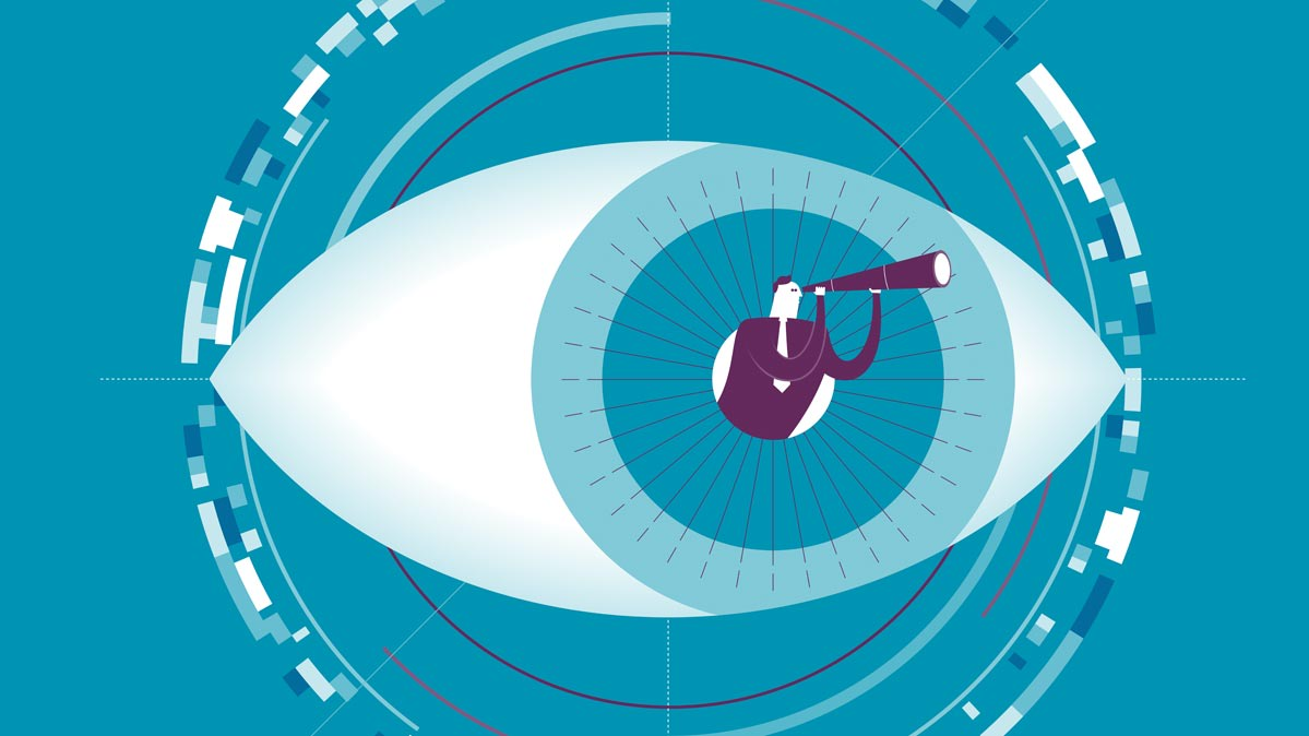 An illustration of a man with a telescope in a pupil of an eye.