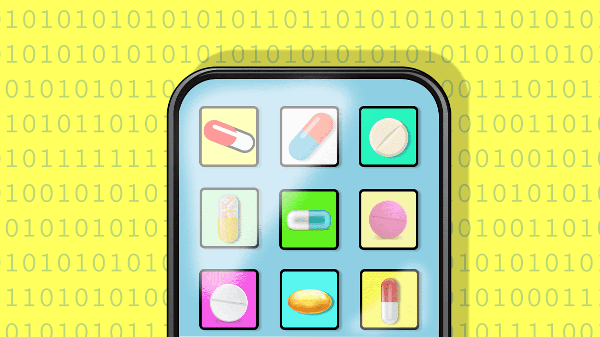 An illustration of a cell phone with numbers and pills for article on health apps.