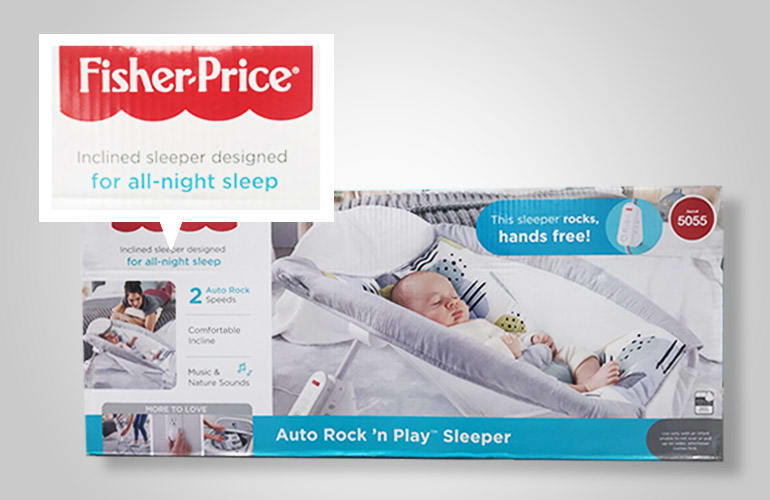 A box for the Fisher-Price Rock 'n Play Sleep that is promoted for