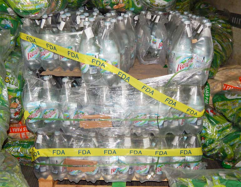 Peñafiel bottled water seized in December 2014 by the Food and Drug Administration.