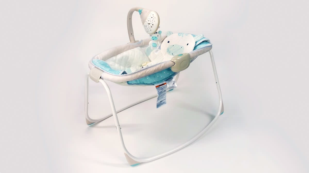 An infant sleeper, the Ingenuity Moonlight Rocking Sleeper from Kids II