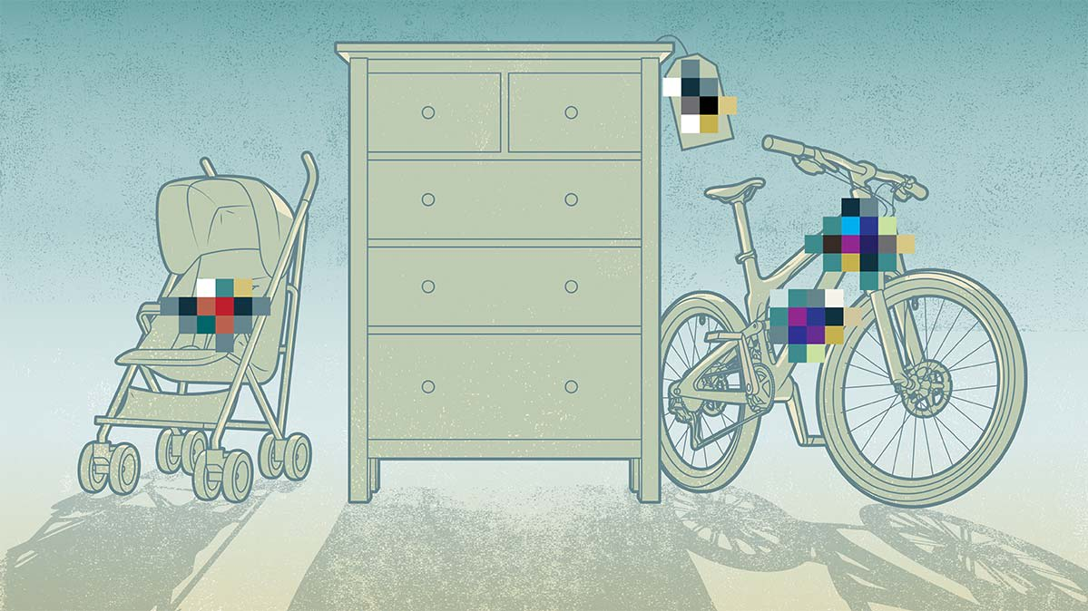 Illustration of a stroller, dresser drawer, and bicycle