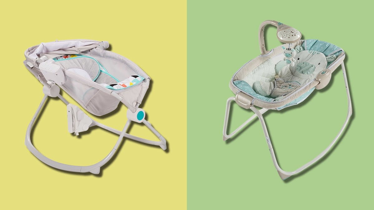 The Fisher-Price Rock 'n Play Sleeper (left) and the Kids II Ingenuity Moonlight Rocking (right).