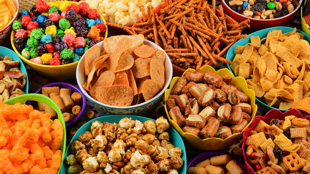 Chips, pretzels, and other snack foods are types of ultra-processed foods.