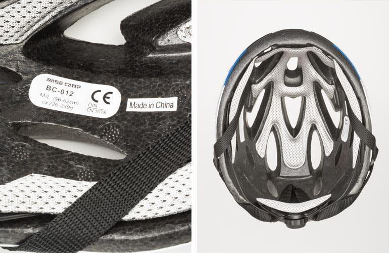 Bike helmet that does not have CPSC certification label