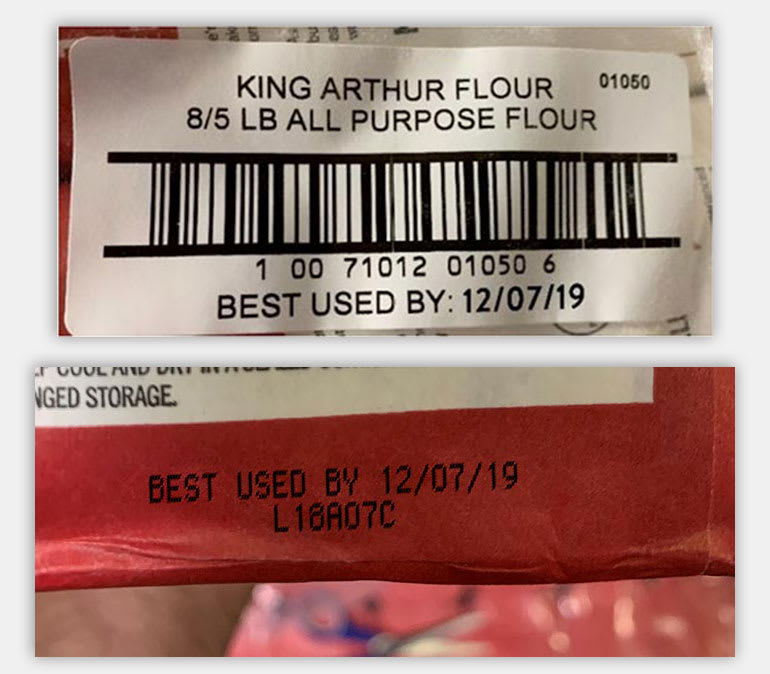 Two images of the labels of the recalled flour.