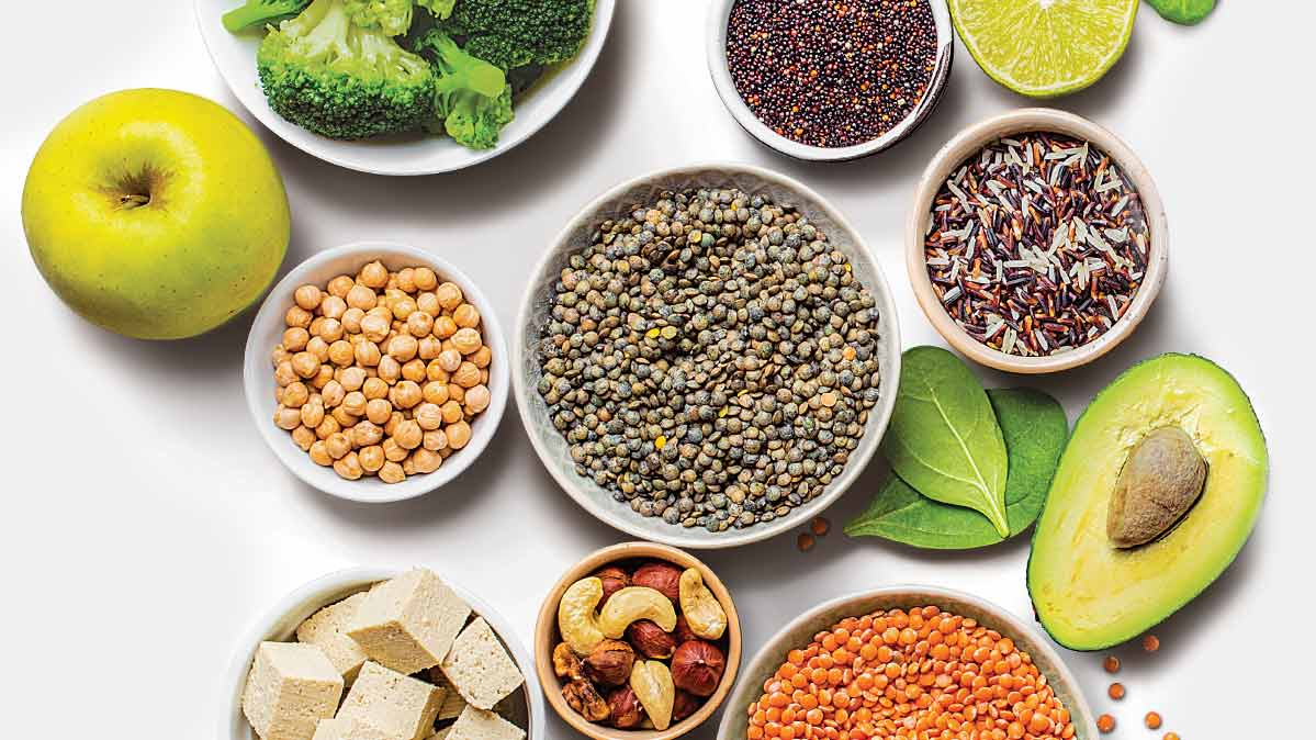 Healthy plant foods with protein like beans and nuts