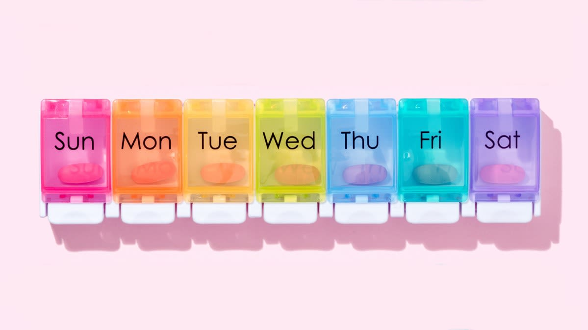 A multicolored weekly medication reminder