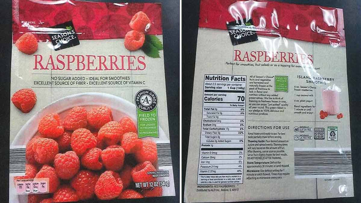 A package of the recalled Season's Choice frozen raspberries