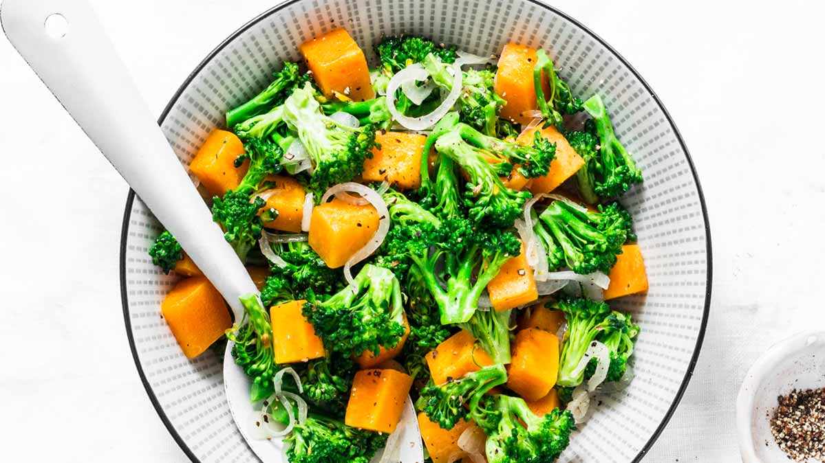 A veggie bowl with broccoli and sweet potatoes