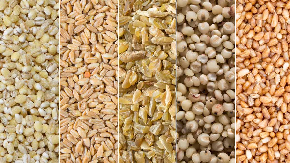 Close up photos of several types of whole grains.