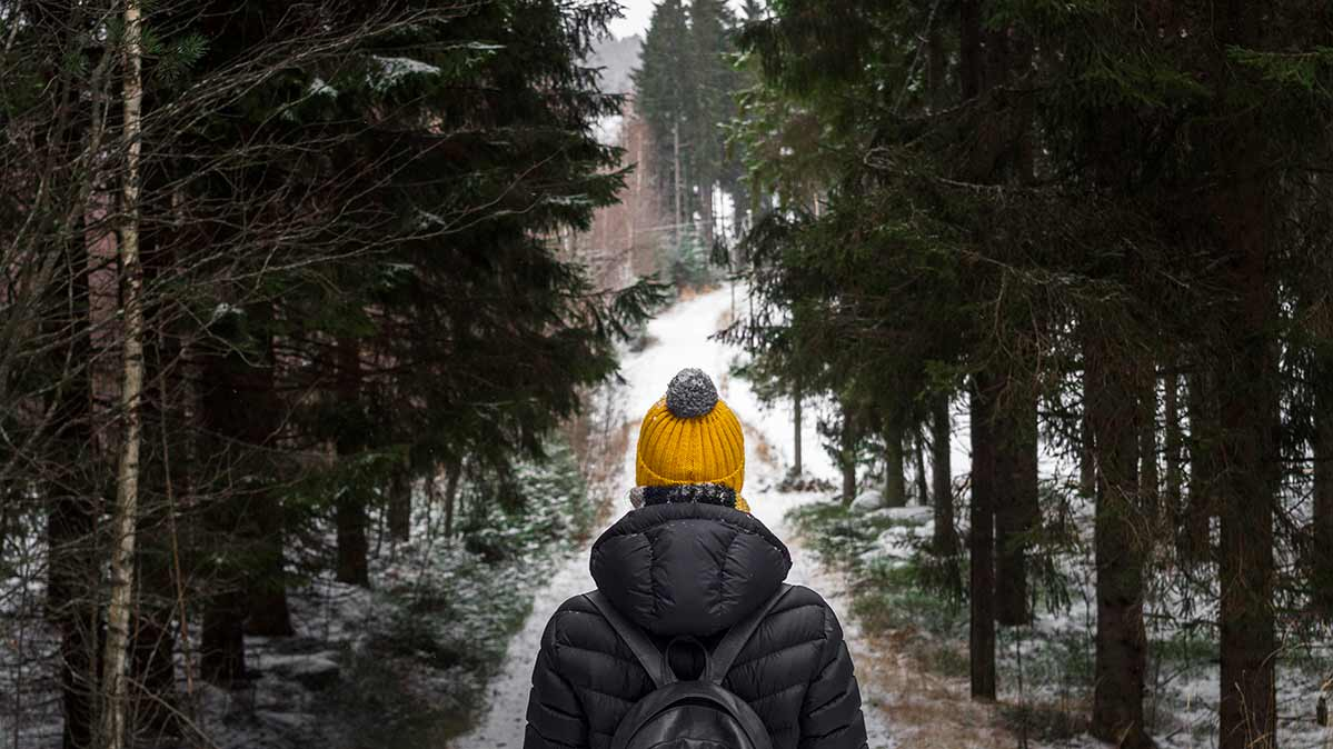 A person hikes a snowy forest path.