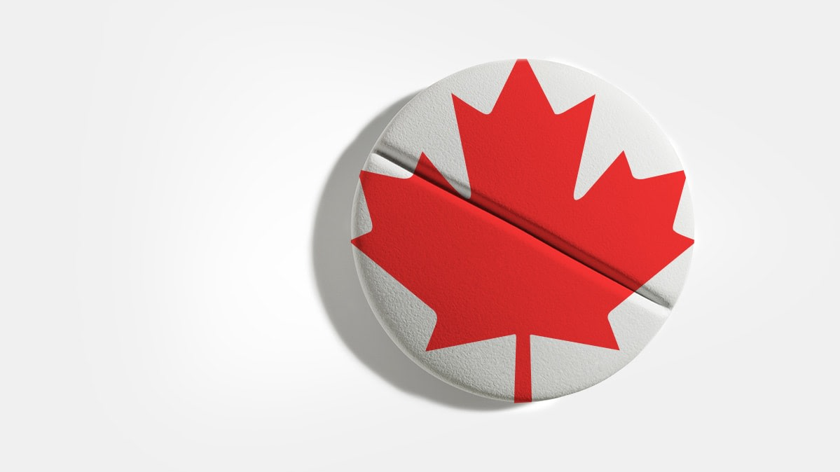 An illustration showing a drug tablet with a Canadian flag.