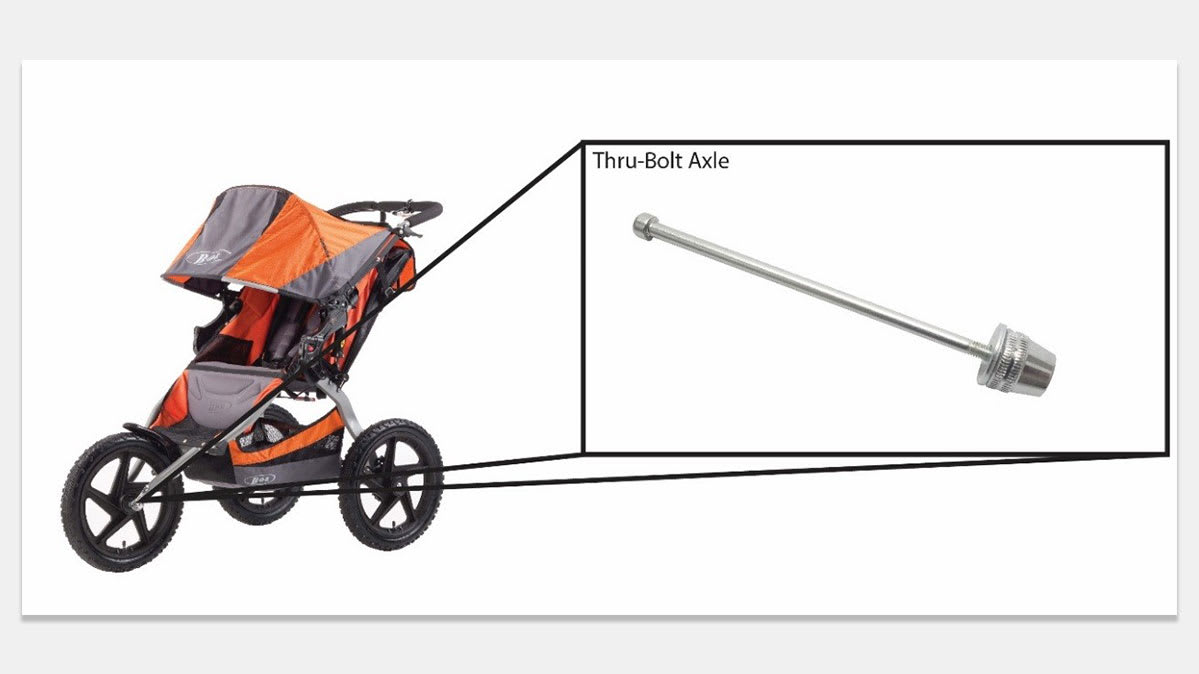 A detailed illustration for the recalled Bob jogging stroller replacement bolt