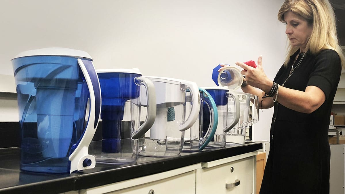 Water filter pitchers being tested in a Consumer Reports lab
