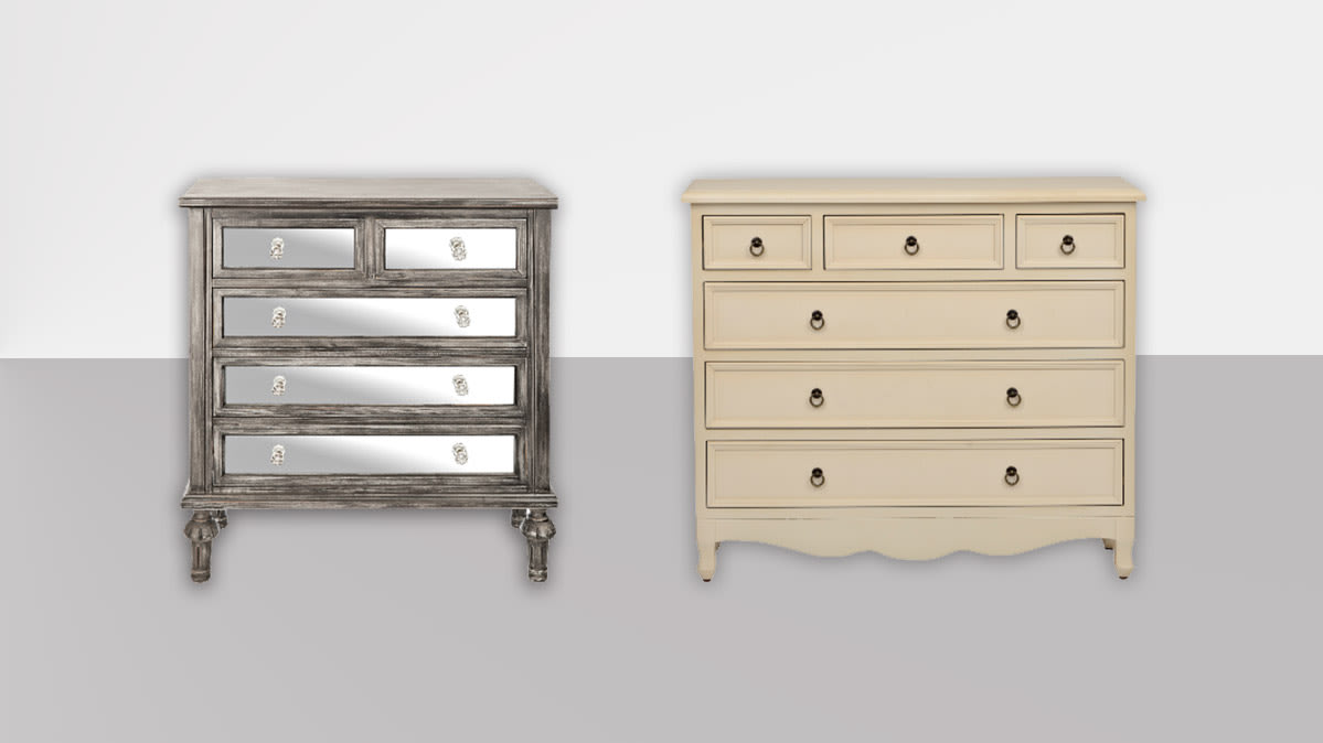 Recalled Dressers by Kirkland's, Black Wash Mirrored Chest produced by The Design House