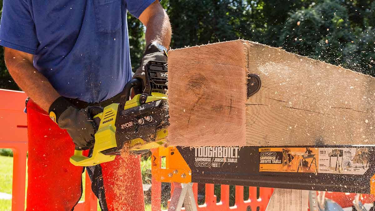 One of the best electric chainsaws being tested by Consumer Reports.