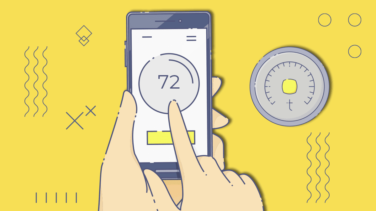 Illustration of a smart thermostat