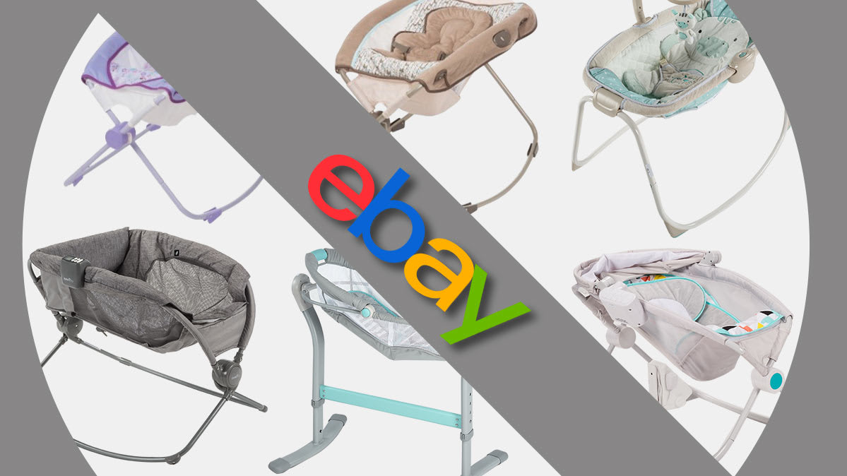 Photoillustration showing eBay logo and infant inclined sleepers