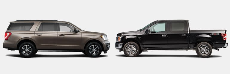 Large SUVs vs. Full-Sized Pickup Trucks showing Fords