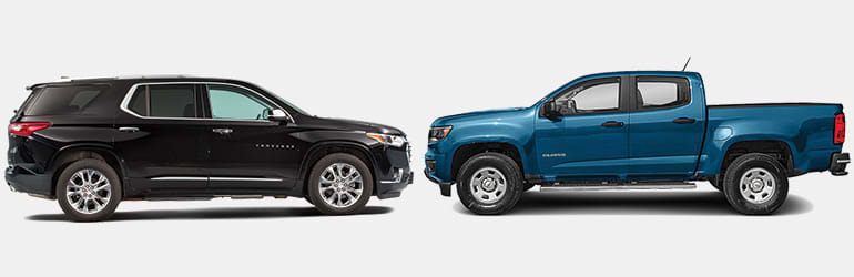 Midsized SUVs vs. Compact Pickup Trucks showing Chevrolets