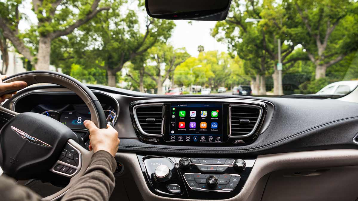 The infotainment system in a modern car.