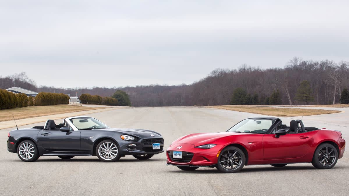 Face Off Fiat 124 Spider Vs Mazda Mx 5 Miata Consumer