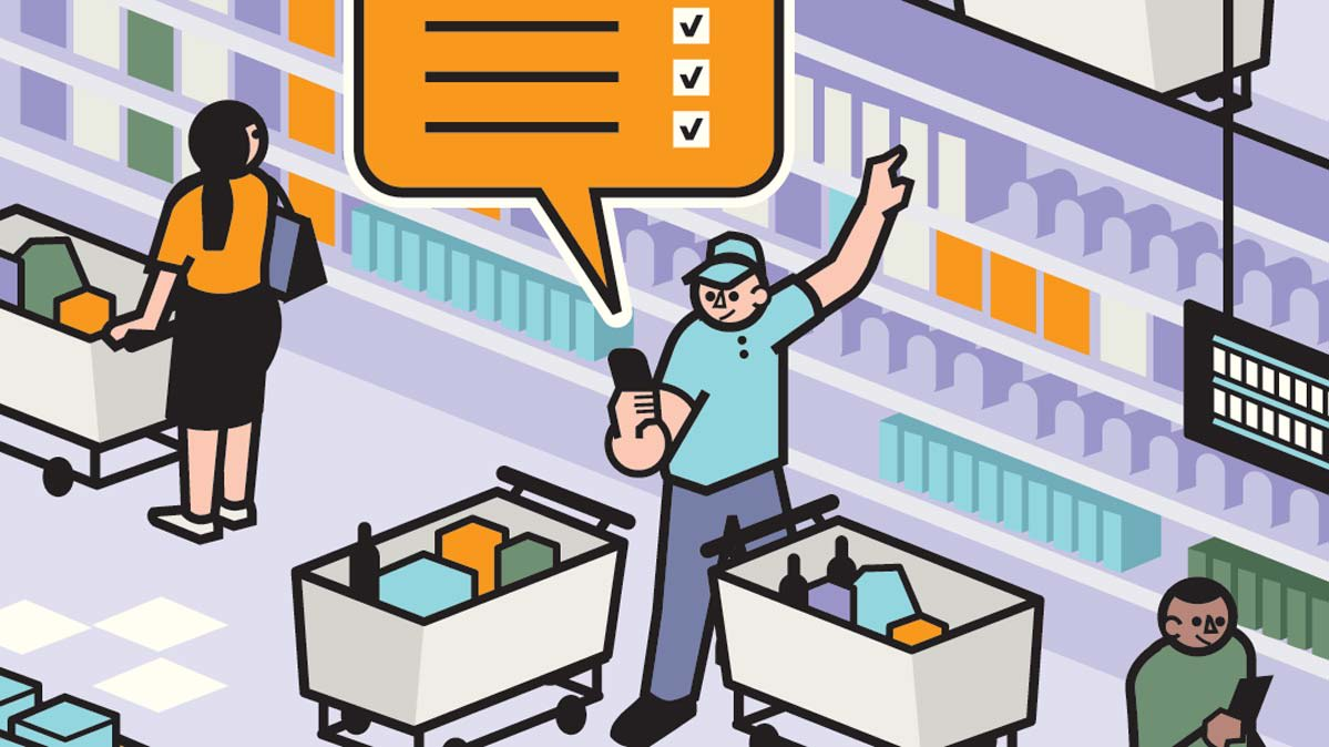 Illustration of a grocery delivery service employee shopping.