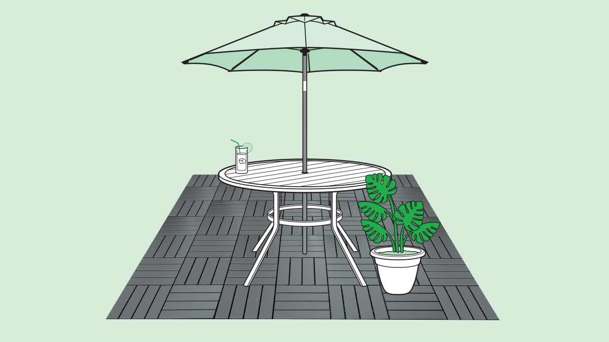 Illustration of snap-together patio tiles