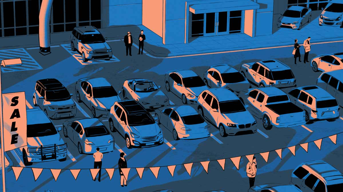 An illustration of a used car dealership lot.
