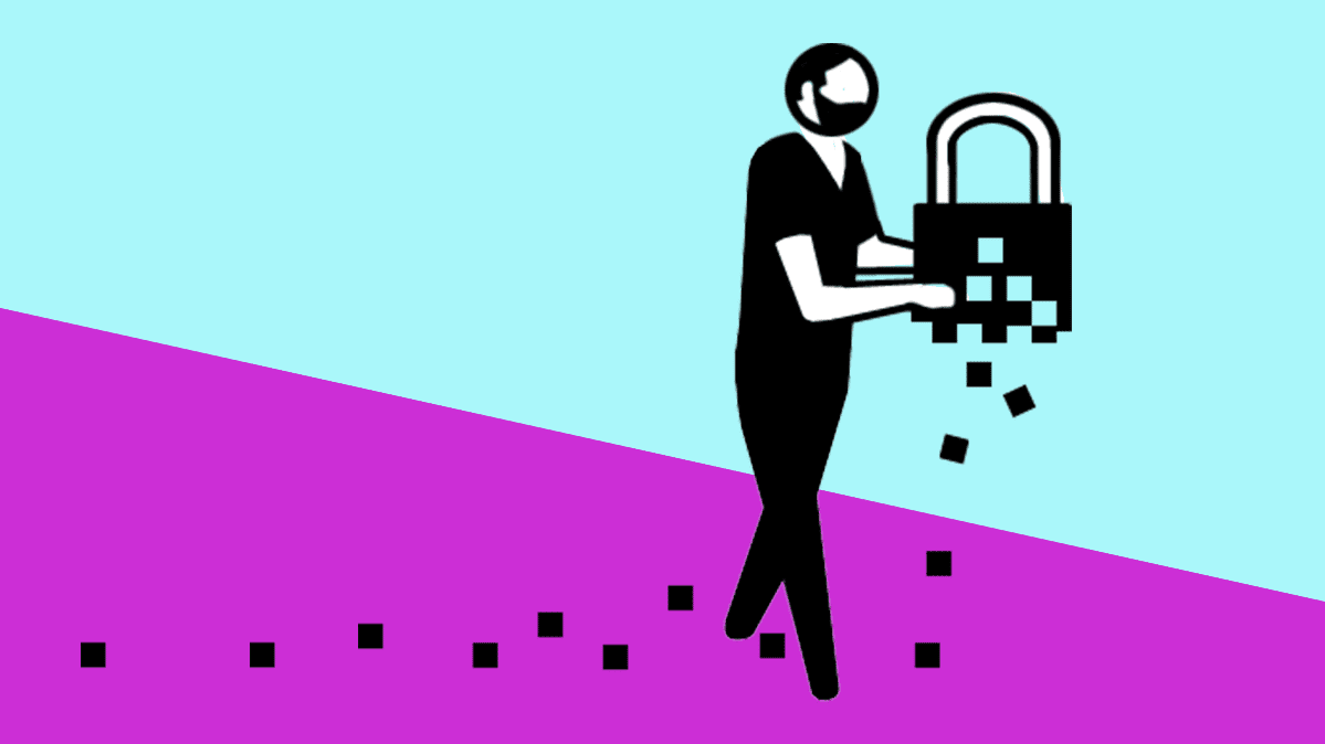 An illustration of a man holding a disintegrating lock, symbolizing digital privacy and security.
