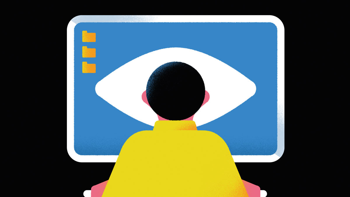 An illustration of a person in front of a computer screen with an eye on the screen.