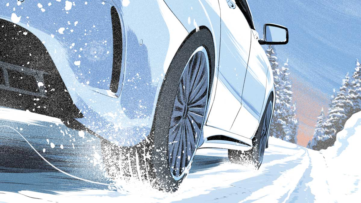 Buy tires with confidence, illustrated by a car driving in the snow