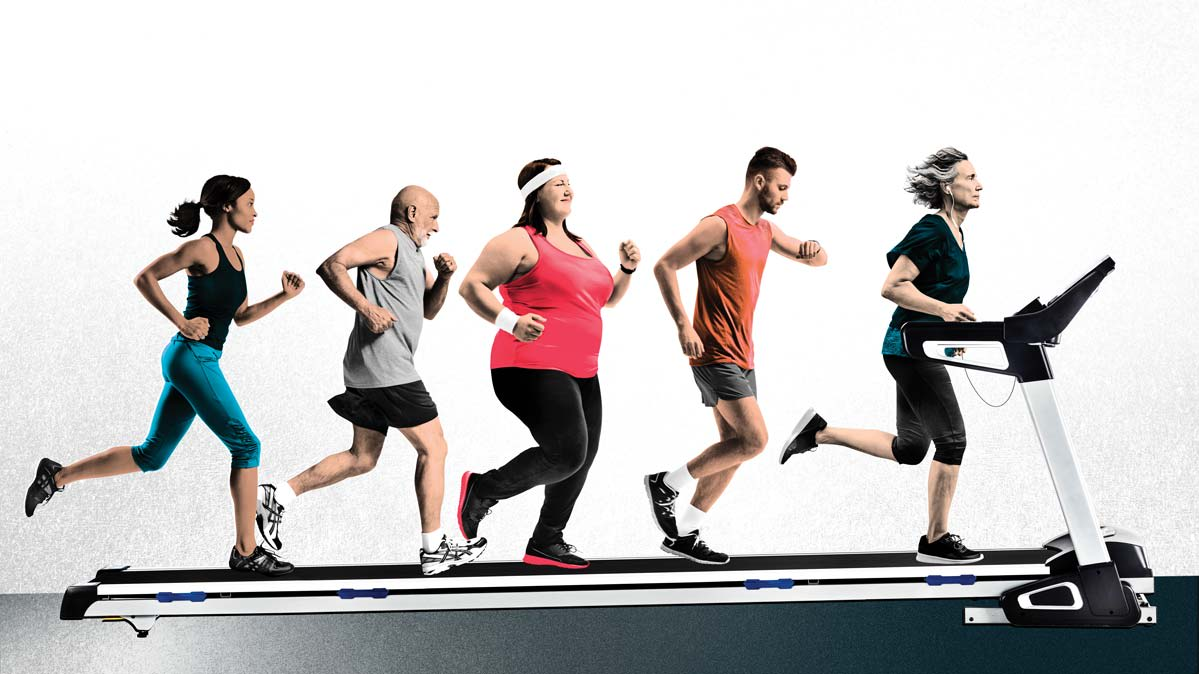 People of different ages and sizes run on one long treadmill