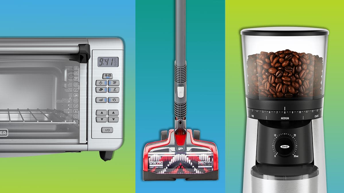 Various home gifts, including a microwave, vacuum, and coffee grinder.